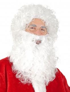 Weihnachtsmann-Set Perücke und Bart weiss