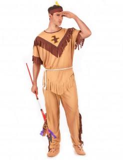 Stammeskrieger Indianer-Herrenkostüm beige-braun