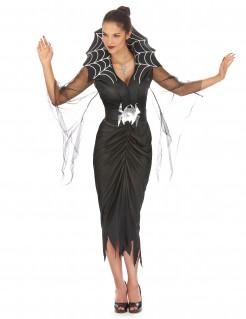 Spinnenfrau Halloween Damenkostüm schwarz-silber