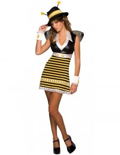 Sexy Bienenkostüm mit Hut Damenkostüm gelb-schwarz-weiss