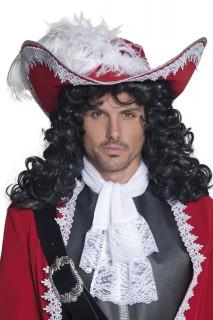 Piraten-Hut Deluxe mit Feder rot-weiss