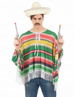 Mexikaner Herrenkostüm Poncho und Sombrero bunt