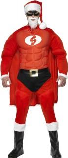 Muskulöser Super-Weihnachtsmann - Kostüm für Herren rot