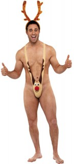 Rentier-Kostüm Mankini Herren beige-braun-rot