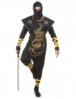 Ninja Herrenkostüm schwarz-gold