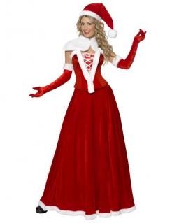 Weihnachtsfrau Damenkostüm Nikoläusin rot-weiss