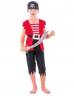 Piraten Kinder-Kostüm rot-weiss-schwarz