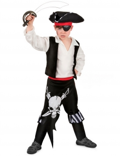 Piraten Kapitän-Kinderkostüm Seeräuber schwarz-rot-weiss