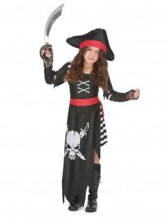 Kleines Piraten-Mädchen Kinderkostüm Freibeuterin schwarz-weiss-rot