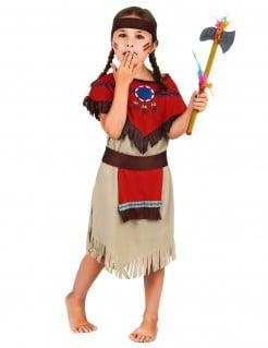 Indianerin Mädchenkostüm beige-braun-rot