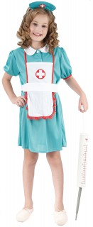Krankenschwester-Kinderkostüm türkis-weiss-rot