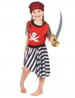 Piratenkostüm für Mädchen Piratenkleid rot-schwarz-weiss