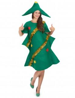 Weihnachtsbaum Damenkostüm Christbaum grün-gold