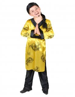 Chinese Kinderkostüm mit Drachenmotiv gelb-schwarz