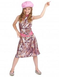 60er-Jahre Mädchenkostüm Disco-Kleid rosa-silber-gold