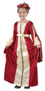 Königin Mädchenkostüm Mittelalter Kinderkostüm rot-creme-gold