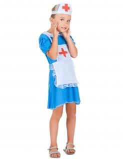 Krankenschwester-Mädchenkostüm Nachtschwester blau-weiss-rot