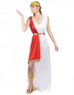 Elegante Göttin-Damenkostüm Antike weiss-rot-gold