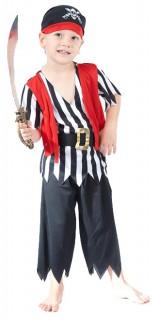 Kleiner Pirat Kinderkostüm Seeräuber schwarz-weiss-rot