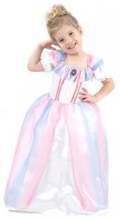 Edles Prinzessinnen-Kinderkostüm weiss-rosa-blau