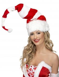 Gestreifte Weihnachtsmütze Kostüm-Accessoire rot-weiss