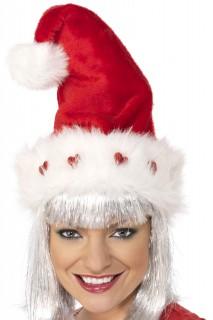 Weihnachtsmütze mit Herzen Weihnachten rot-weiss