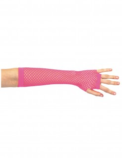 80er Jahre Netz-Handschuhe Stulpen neon pink