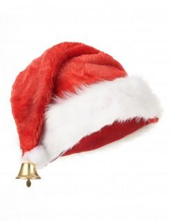 Weihnachts-Mütze Santa-Claus-Accessoire mit Glocke rot-weiss-gold