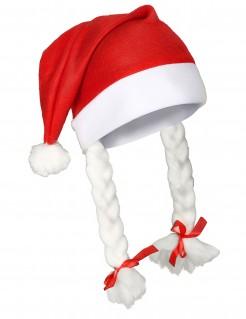 Weihnachtsfrau Mütze mit Zöpfen rot-weiss