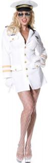 Sexy Pilotin Damenkostüm Stewardess weiss-gold
