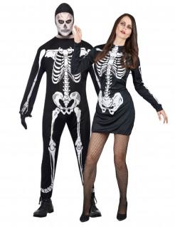 Skelett-Kostüm für Paare, schwarz-weiß
