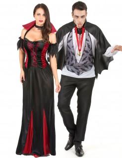 Vampir-Kostüm für Paare schwarz-rot