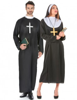 Nonne und Priester - Paarkostüm für Erwachsene schwarz-weiß