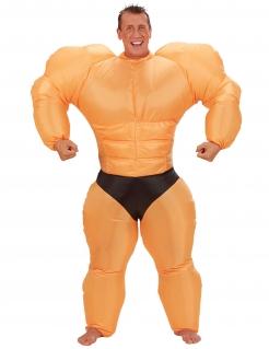 Aufblasbares Bodybuilder Kostüm beige-schwarz