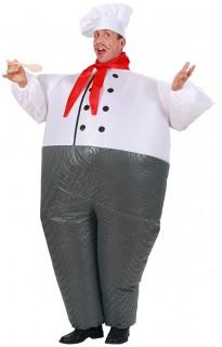 Erwachsenen Koch-Kostüm aufblasbar weiß/grau