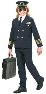 Kleiner Pilot Kinderkostüm Kapitän blau-gold
