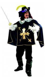Musketier Mittelalter Ritter Kostüm blau-gold-weiss