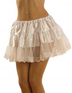 Satin Petticoat mit Spitze Unterrock weiss