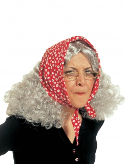 Hexenperücke mit Kopftuch grau-rot-weiss