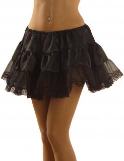 Satin Petticoat mit Spitze schwarz