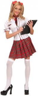 Schulmädchen Damenkostüm weiss-rot-kariert