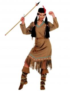 Indianerin-Damenkostüm Western Karnevalskostüm hellbraun