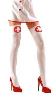 Krankenschwester-Overknees weiss-rot