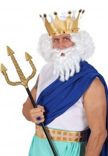 Götterperücke mit Bart weiß