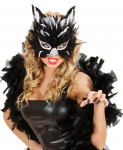 Augenmaske Katze mit Federn schwarz-weiss