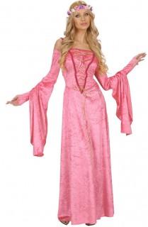 Erhabene Prinzessin Mittelalter-Damenkostüm rosa