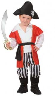Piraten Kapitän Kinderkostüm weiss-rot-schwarz