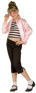 Rock 'n' Roll Kinderkostüm Mädchen rosa-schwarz