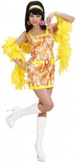 70er Disco Satin-Kleid mit Gürtel Damenkostüm orange