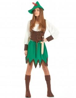Mittelalter Waldfrau Damenkostüm Rächerin grün-braun